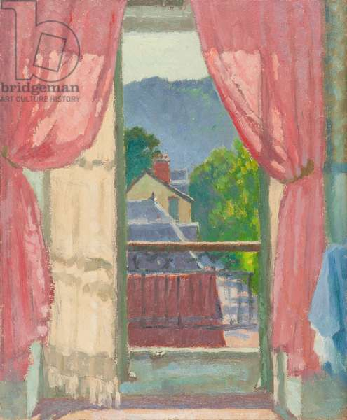 Vic-sur-Cère, View from our Bedroom, 1950 (oil on cardboard)
