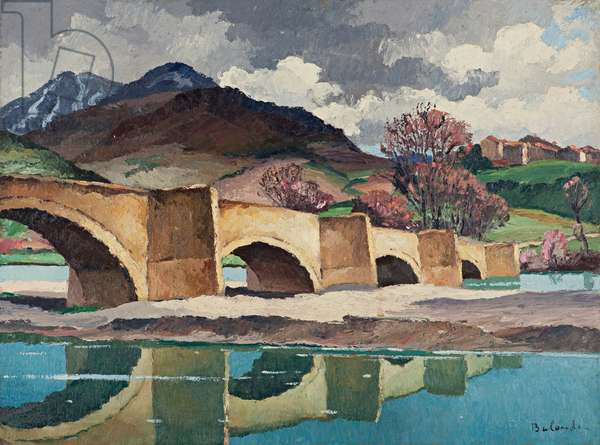 The Pont d'Eyguine, 1938 (oil on paper laid down on canvas)