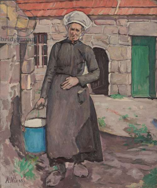 Breton with Blue Bucket, 1920 (oil on canvas)