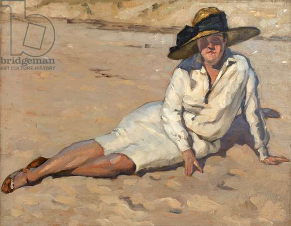 Woman in white dress on the beach (oil on panel)