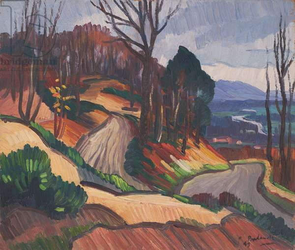 The Valley of the Risle, 1949 (oil on panel)