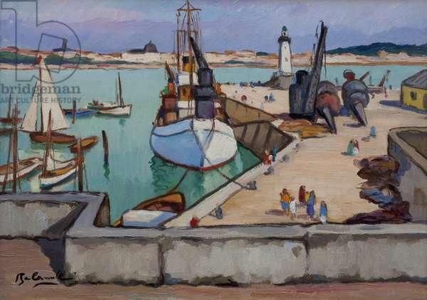 The Lighthouse of Saint-Gilles-Croix-de-Vie, Vendée (oil on paper laid down on canvas)