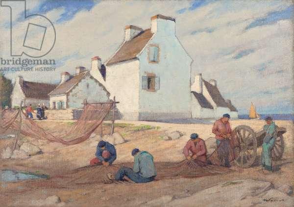 Fishermen Repairing their Net, 1935-40 (oil on hessian)