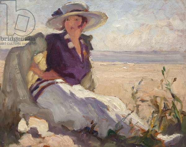 Woman in white and purple hat sitting on a dune, 1920 (oil on panel)