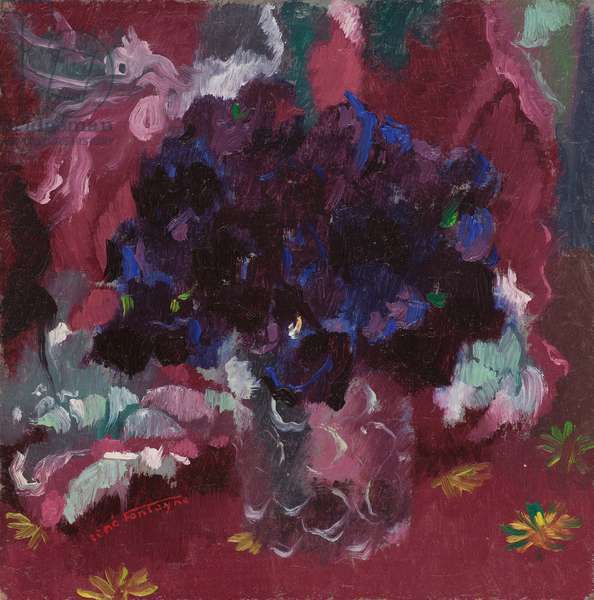 Blue pansies in a glass, 1930 (oil on cardboard laid down on masonite)