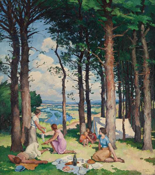 Camping, 1934 (oil on canvas)