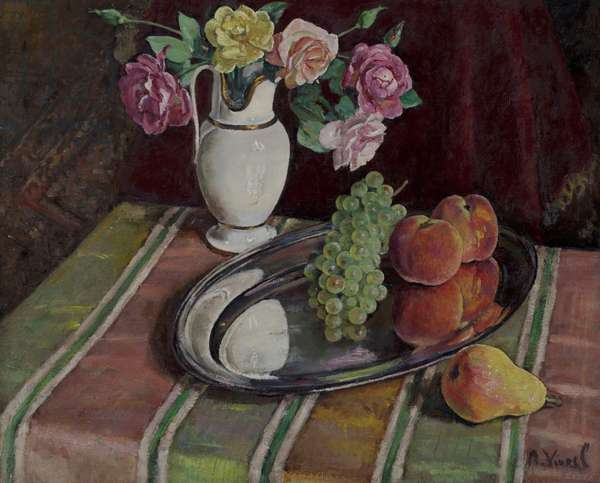 Bouquet of roses and fruit on a silver platter (oil on canvas)