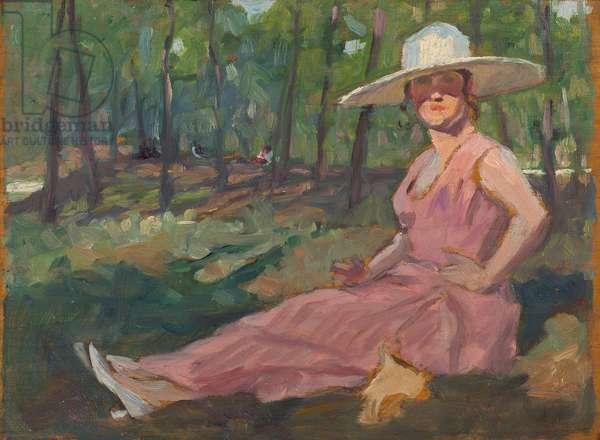 Woman in a pink dress sitting in a wood, 1921 (oil on panel)