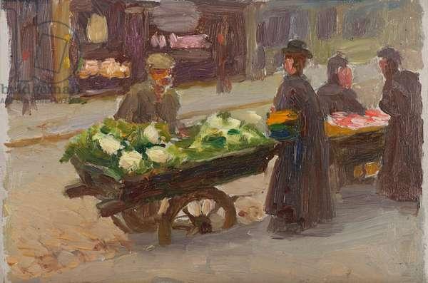 Stall of a Vegetable Seller, Rue Lepic, 1908 (oil on cardboard)