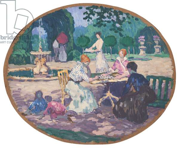 Games in the Garden, 1918 (oil on cardboard)