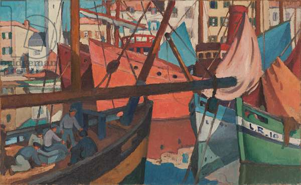 Boats in the Harbour of La Rochelle, Quai Duperré (oil on hessian)