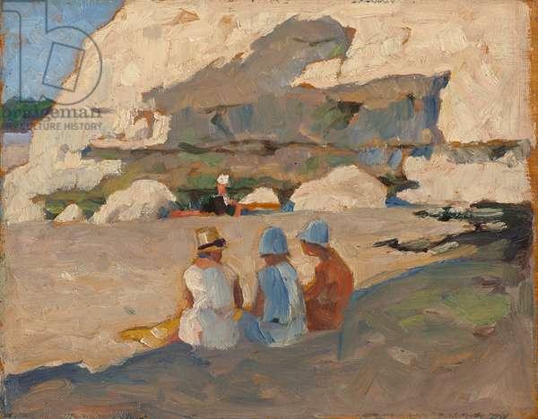 Women Sitting on the Beach at Vallières, 1928 (oil on panel)