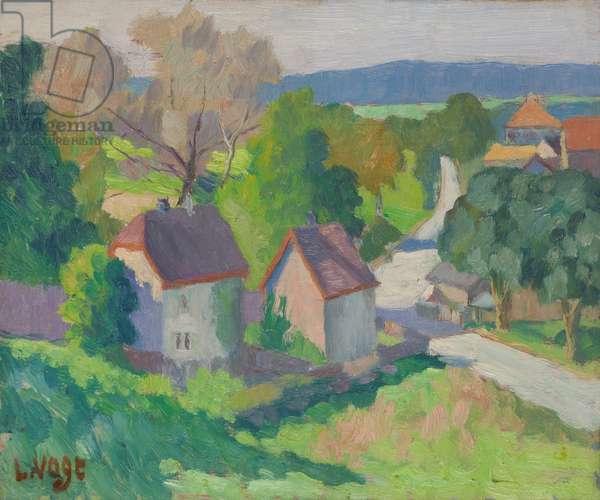 Alsatian Houses (oil on panel)
