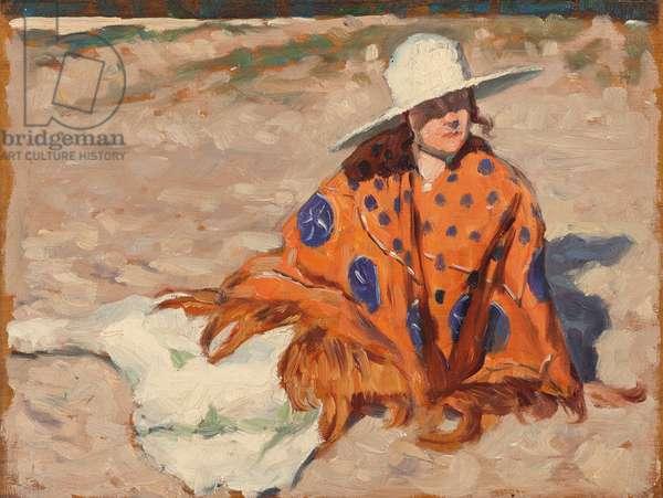 Woman in an orange shawl sitting on the beach, 1921 (oil on panel)