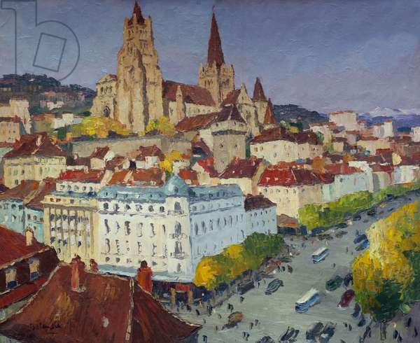 Lausanne Cathedral (oil on canvas)