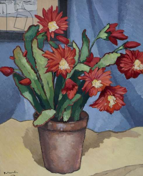 Bouquet of red flowers in a pot (oil on paper laid down on canvas)
