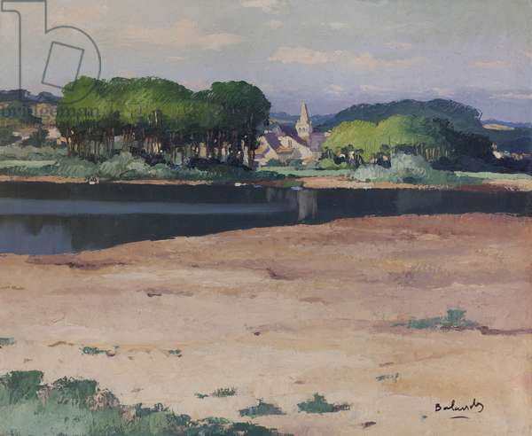 Banks of the Loire at Gené, Marne-et-Loire (oil on paper laid down on canvas)