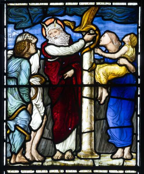 Moses & The Brazen Serpent, 1879 (stained glass)