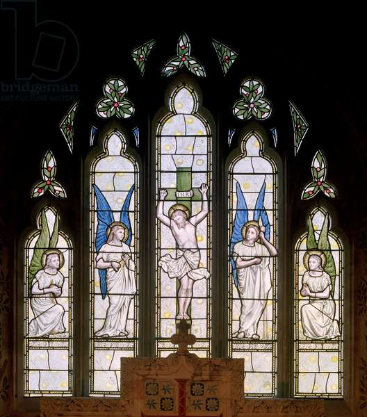 Hornblotton, St Peter, James Powell & Sons, Thomas G Jackson, East Window, Crucifixion & Angels, 1874