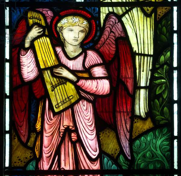 Musical Angel Of Paradise, 1875 (stained glass)