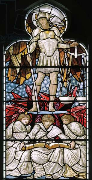St Michael Weighing Souls, The Last Judgement detail, 1876 (stained glass)