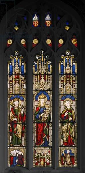 Edward The Confessor, Virgin & Child, and St. John The Evangelist, 1846 (stained glass)