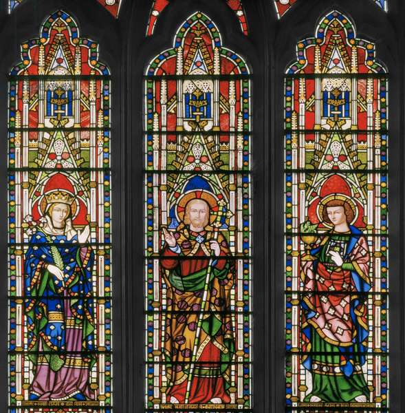 Virgin & Christ with Saints, East Window, detail, 1847-48 (stained glass)