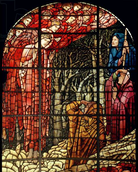 The Nativity Window, detail, The Shepherds, 1888 (stained glass)