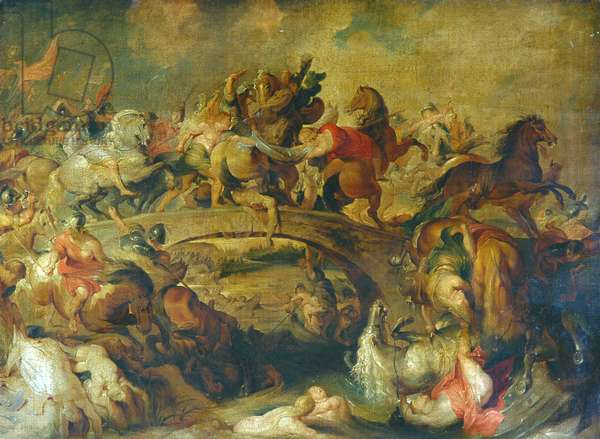 Battle of The Amazons (oil on canvas)