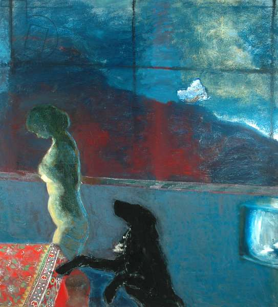 Girl with Dog, 1979 (oil on canvas)