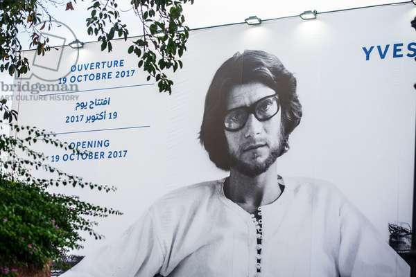 Billboard advertising the opening of  Yves Saint Laurent Museum, Marrakech, Morocco, September 2018 (photo)