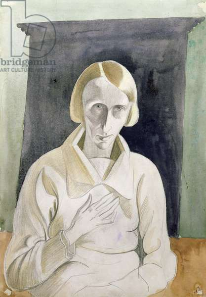 Dame Edith Sitwell (1887-1964), c.1922-28 (w/c and pencil)