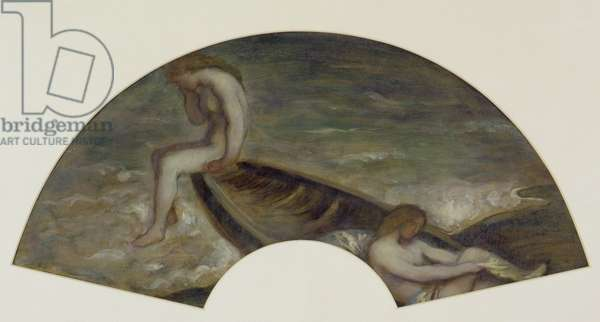 Girl bathers in a boat, design for a fan, c.1905-10 (oil on paper)