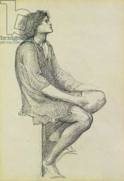 Study for the king for 'King Cophetua and the Beggar Maid', c.1883 (pencil on paper)