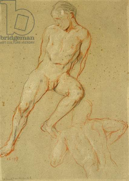 Studies of a male nude, 1917 (black, white & red chalk on grey paper)