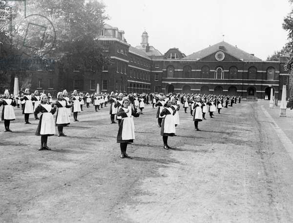 Girls exercising in the London Foundling Hospital (b/w photo)