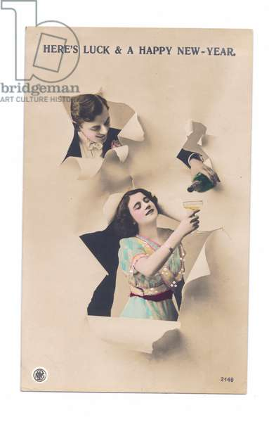 Edwardian New Year postcard of a man pouring champagne into a glass held by a woman, c.1910 (colour litho)