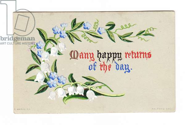A Victorian hand-painted birthday card of lily of the valley and forget-me-nots, c.1880 (hand-painted)