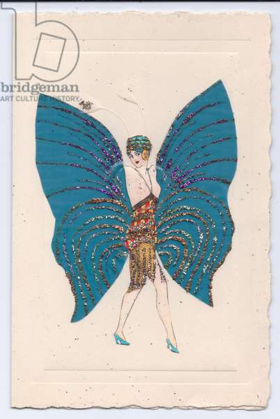 A greeting card of a flapper girl wearing a glittered topless costume holding up large glitter wings, c.1920 (colour litho)