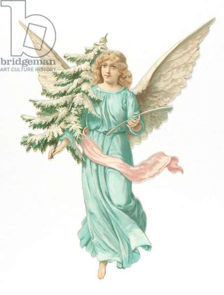 Victorian scrap relief of an angel holding a fir tree, c.1880 (colour litho)