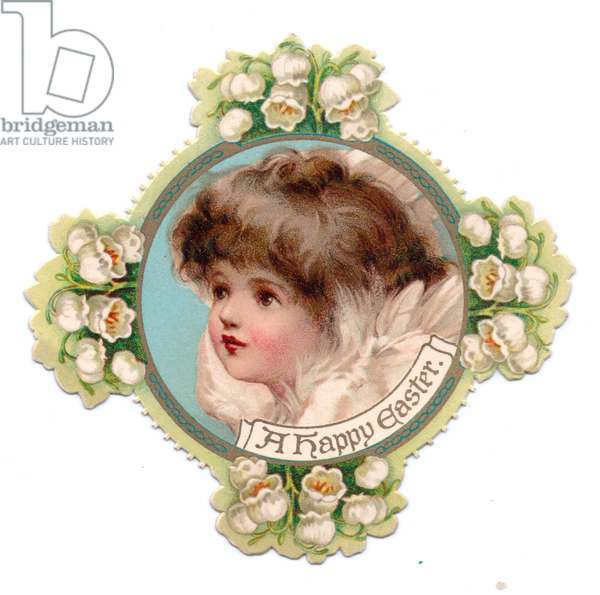 A Victorian religious Easter card of a die-cut cross decorated with lily of the valley with an image of an angel in the center, c.1880 (colour litho)