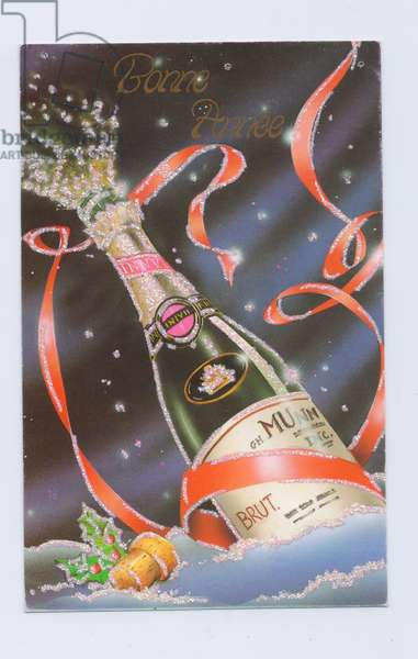 Edwardian postcard of bubbles coming out of a champagne bottle,  c.1910 (colour litho)