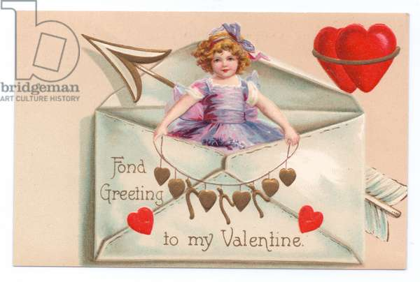 A Victorian valentine card with a girl in an envelope holding a string of hearts, c. 1880 (colour litho)
