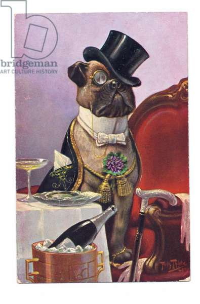 Edwardian postcard of a dog with a top hat wearing human clothes, c.1910 (colour litho)