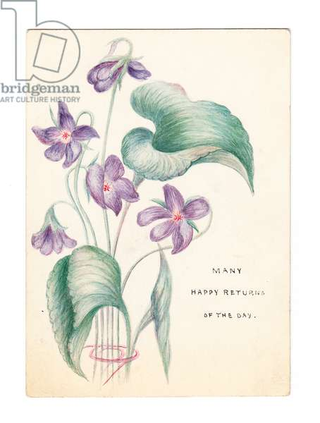 A Victorian hand-painted birthday card of a bunch of violets, c.1880 (hand-painted)