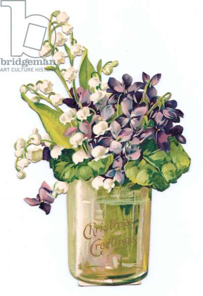 A Victorian die-cut shape Christmas card of lily of the valley and violets in a vase, c.1880 (colour litho)