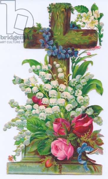 A Victorian religious greeting card of a cross decorated with roses, lily of the valley and violets, c.1880 (colour litho)