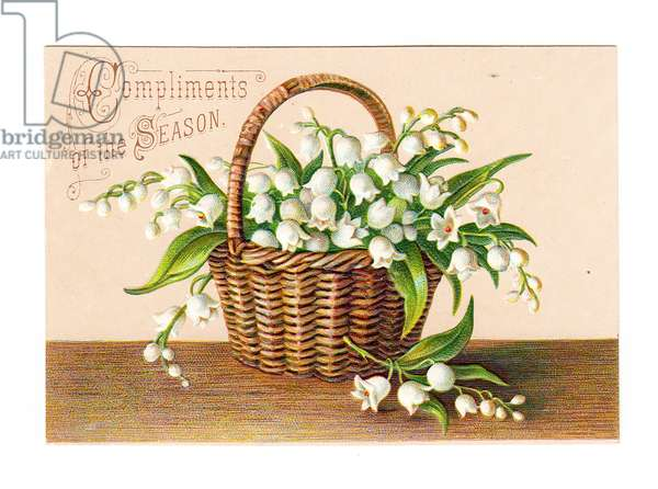 A Victorian greeting card of lily of the valley in a wicker basket, c.1880 (colour litho)