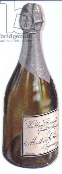 A Victorian die cut greeting card in the shape of a champagne bottle, c 1880 (colour litho)