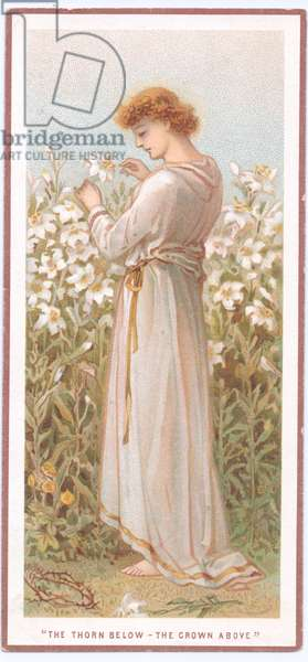 A Victorian greeting card of a pre raphaelite woman in a field of flowers, c.1880 (colour litho)